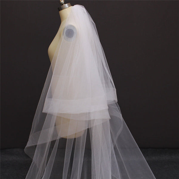 Elegant Horsehair Edge Drop Veil, Cathedral Veil Over Face