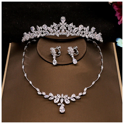Flower Pattern Cubic Zircon Bridal Jewellery Set