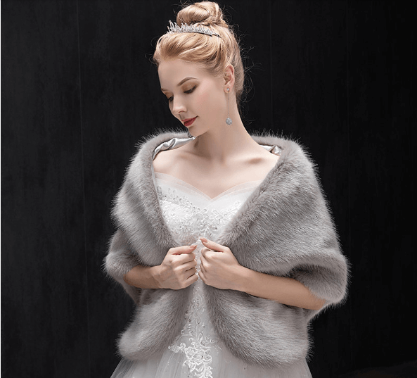 Gray Faux Fur Shawl