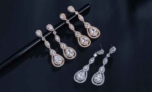 White Gold Plated Crystal Bridal Earrings