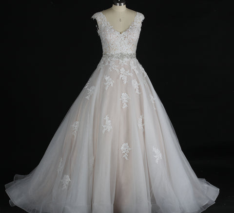 V-neck Illusion Lace Applique Ball Gown, Bridal Luxury Ball Gown, Joanna