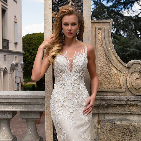 mermaid wedding dress with train