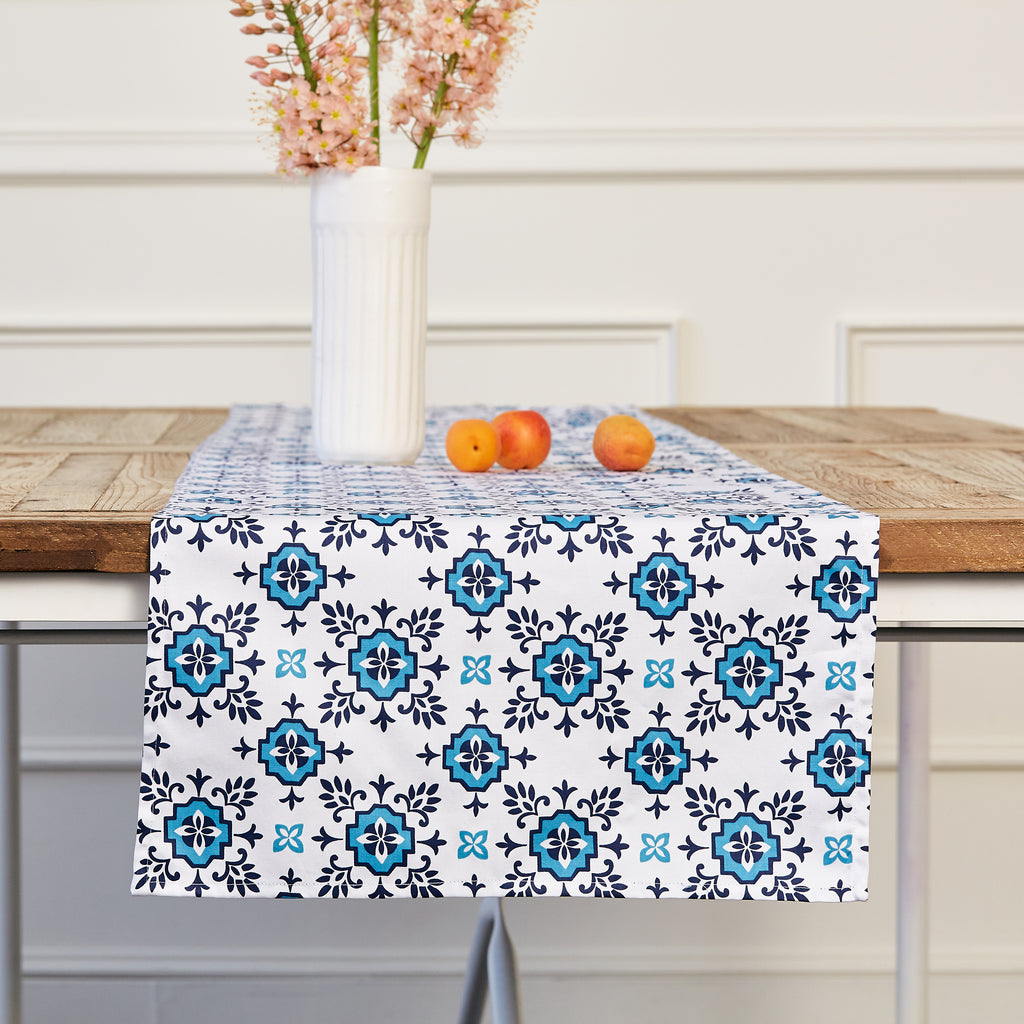 BLUE FOULARD TABLE RUNNER