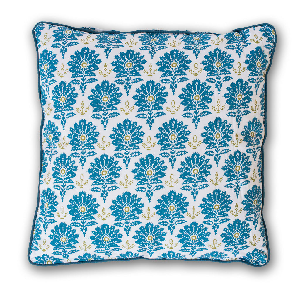 Blue Ottoman Throw Pillow