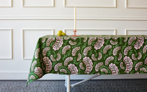 PINK LEAVES TABLE CLOTH