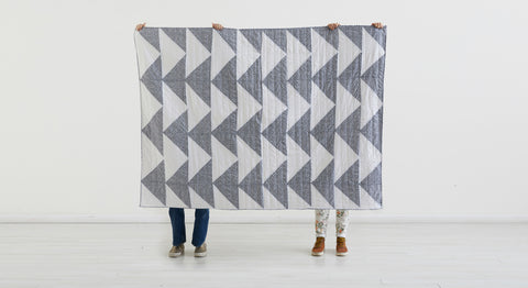 HANDMADE GRAY TRIANGLES QUILT