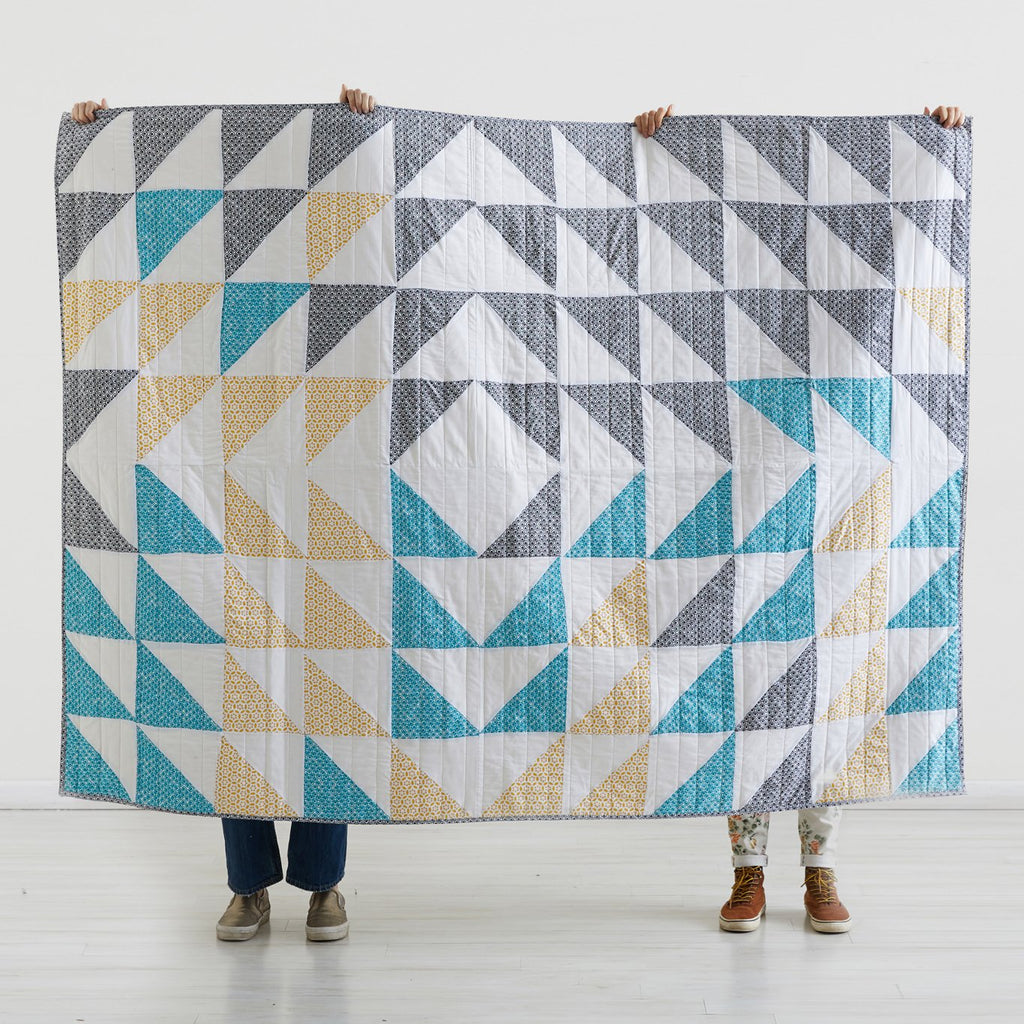 HANDMADE GOLD, TEAL & GRAY QUILT
