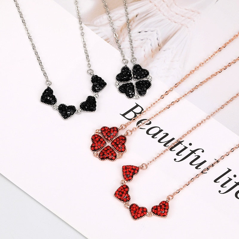 Four Leaf Clovers Heart Crystal Necklace