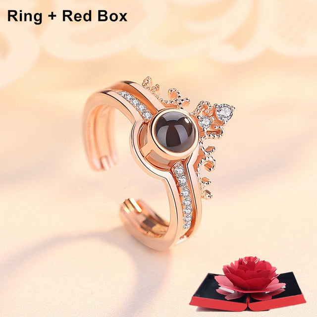 Rose Ring Box with 100 Languages I LOVE YOU Ring
