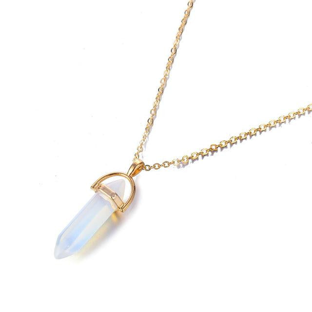 zeevera - Bullet Quartz Crystal Pendant Necklace