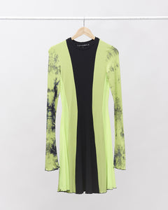 LAFORMELA Lime Green Patchwork Dress with Long Sleeves