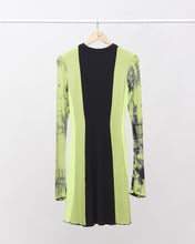 Load image into Gallery viewer, LAFORMELA Lime Green Patchwork Dress with Long Sleeves