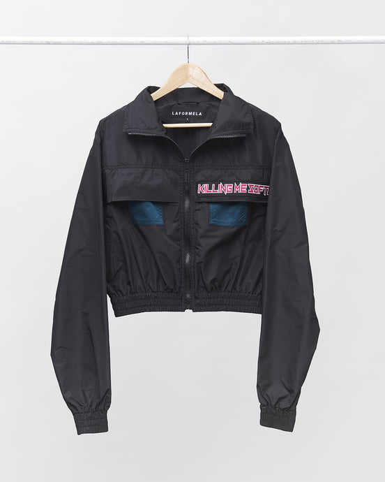 LAFORMELA Windbreaker Bomber Jacket with Pink Patch