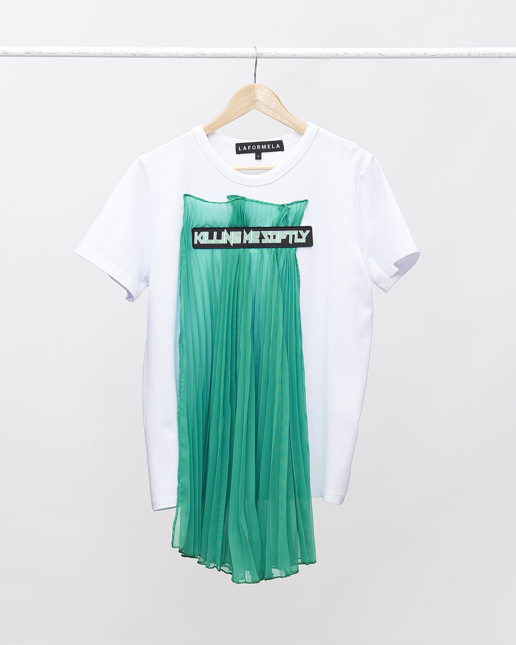 LAFORMELA T-shirt with Asymmetric Pleat and Green Patch