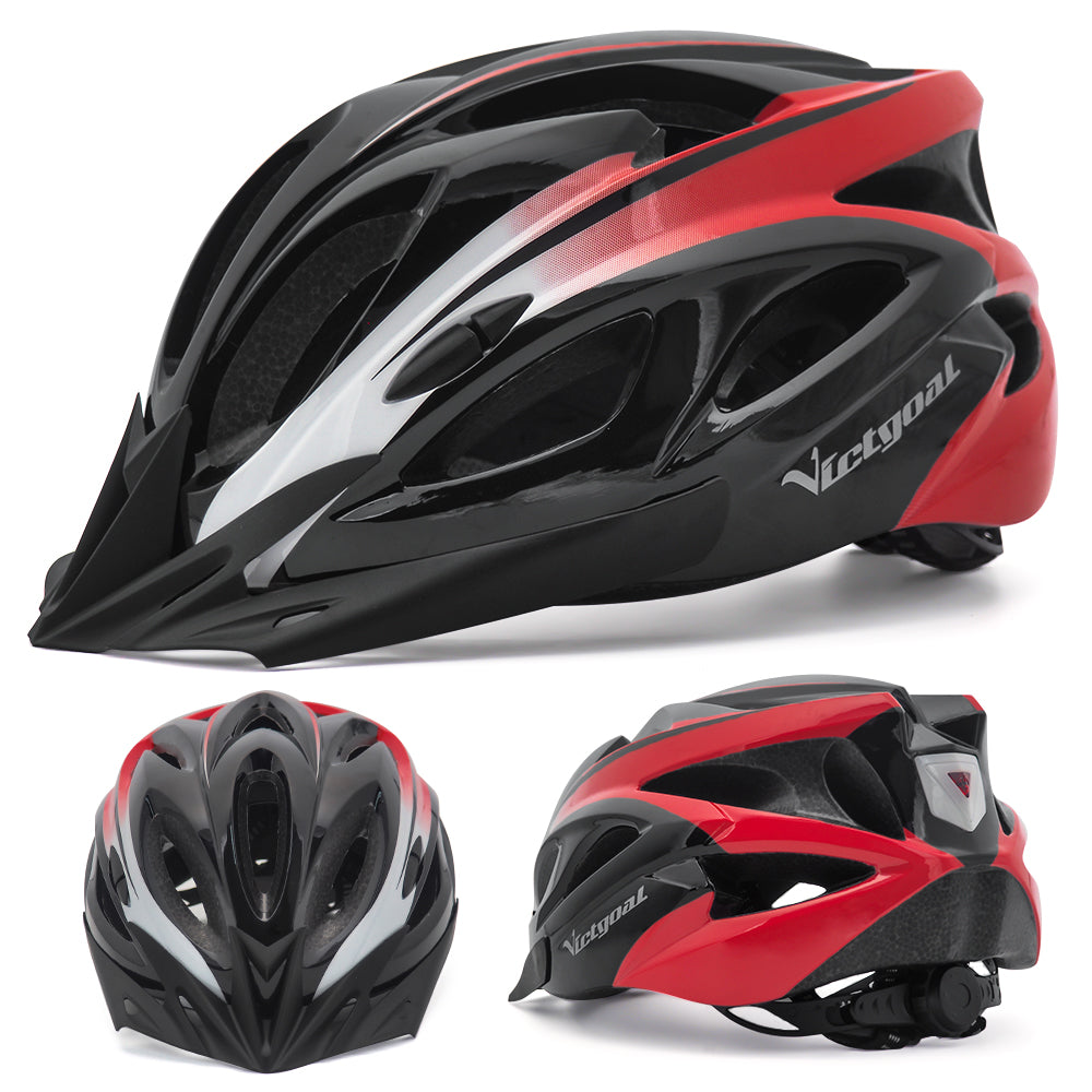 Sun Visor Bike Helmet w/ LED Rear Light For Cycling & E-bikers