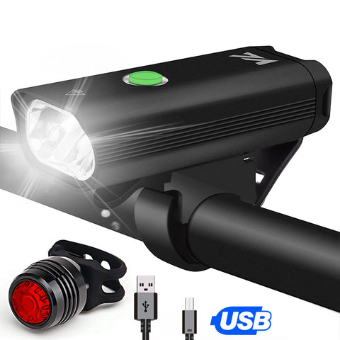 USB IPX5 Bike Light Headlight Taillight Set