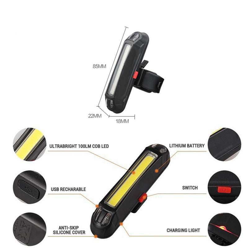 VICTGOAL USB Waterproof Rechargeable LED Bicycle Rear Light