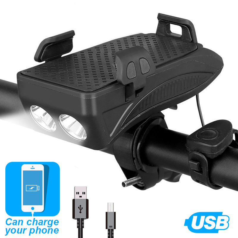 LED Bike Phone Mount Portable Charger & Horn
