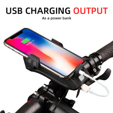 Load image into Gallery viewer, LED Bike Phone Mount Portable Charger & Horn