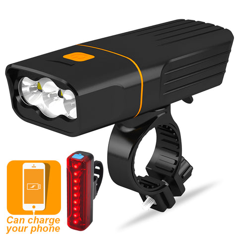 3 LEDs USB Bike Light Set & Portable Phone Charger