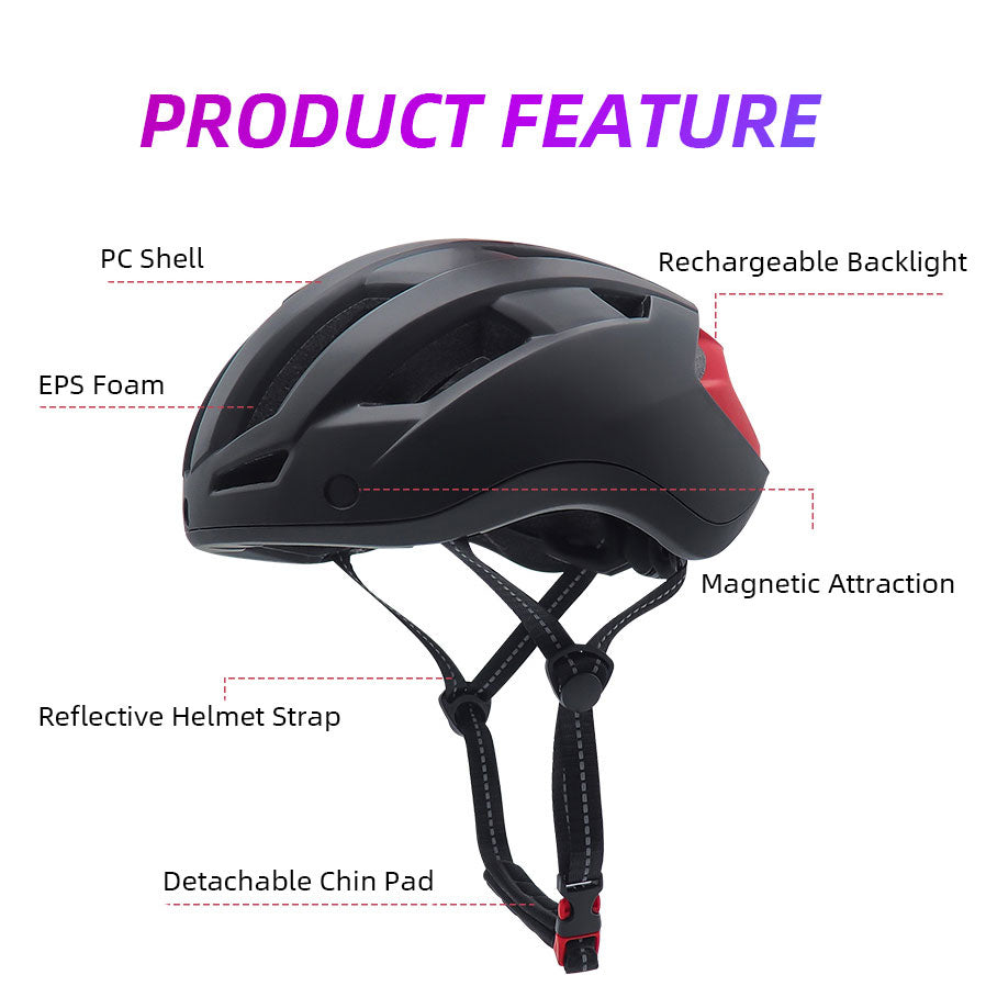 VICTGOAL Magnetic Goggles Bike Helmet W/ USB Rechargeable Rear Light