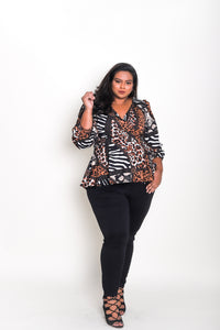 Long Sleeve Wrap Top Animal Print