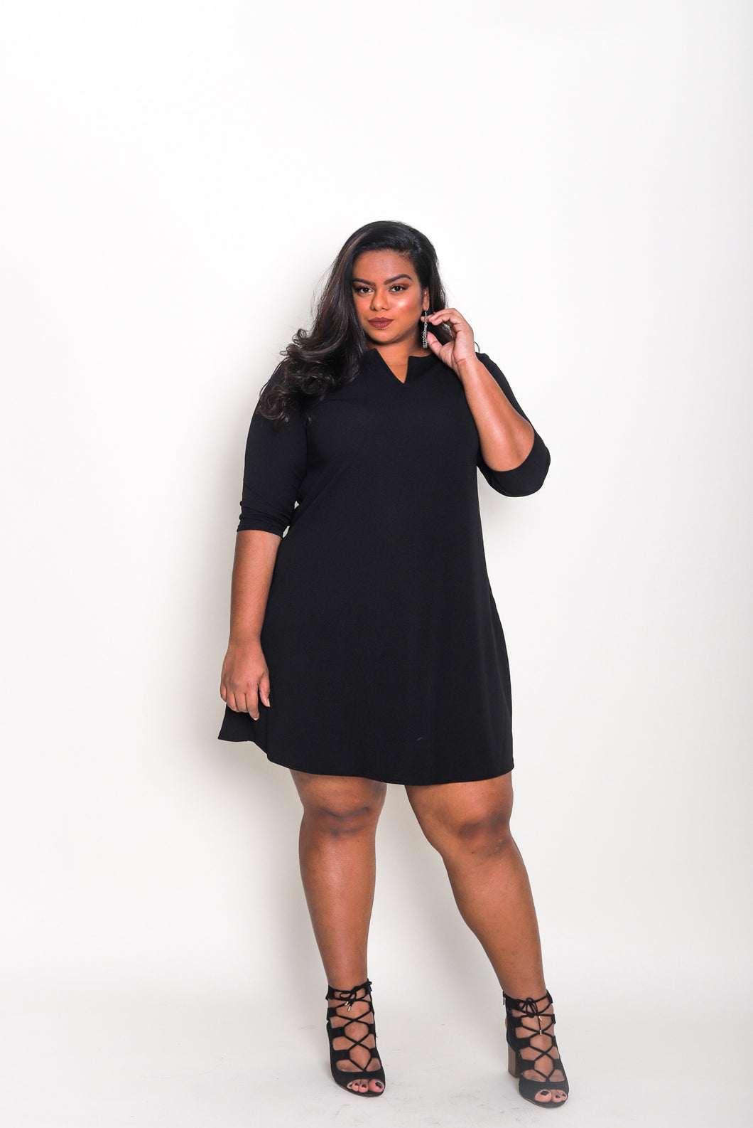 Notch Neck A-line Dress