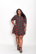 Load image into Gallery viewer, Notch Neck A-line Dress Cherry Print