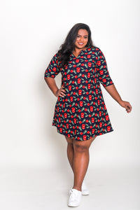 Notch Neck A-line Dress Cherry Print
