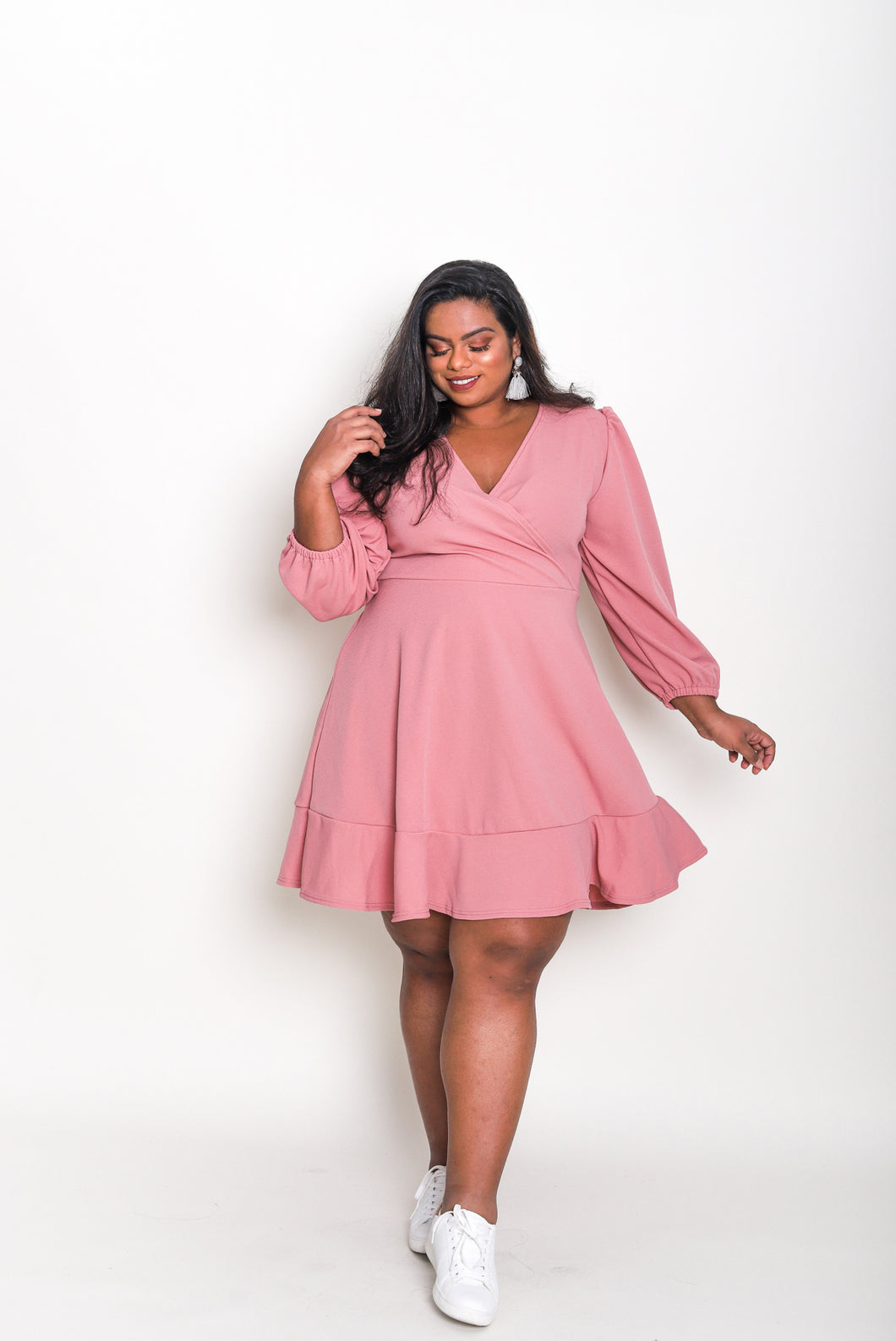 Long Sleeve Wrap Dress (Short)