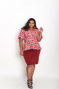 Wrap Top Cherry Print
