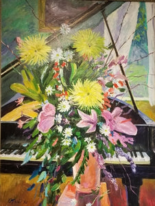 "Limited edition print ""Yellow Asters and Piano by the Window "" framed"