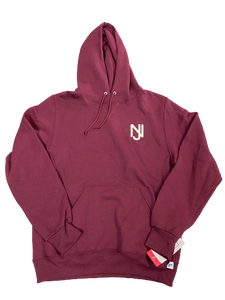 NJ - Lions Logo Embroidered Hoodie (Maroon/Cream Logo)