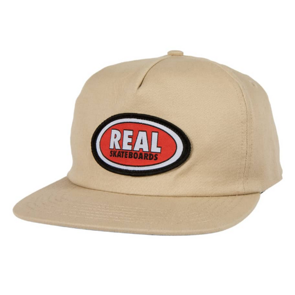Real - Oval Logo Adjustable Snapback Hat (Khaki)