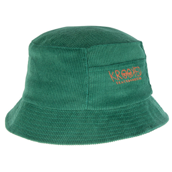 Krooked - Eyes Logo Bucket Hat (Dark Green/Red)