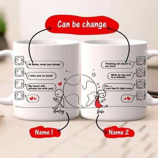 Personalized name couple mug set - Love no distance