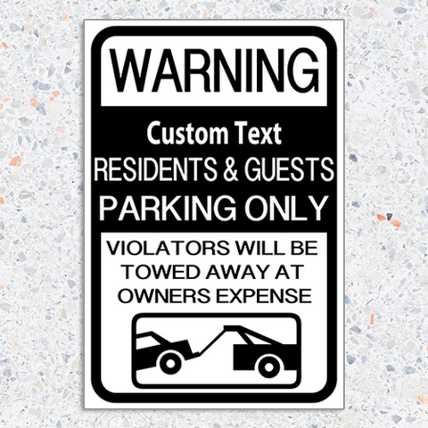 Warning Parking Sign 12 x 18