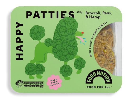 Food Nation Happy Patties - Broccoli, Peas & Hemp 400g (4PCS)