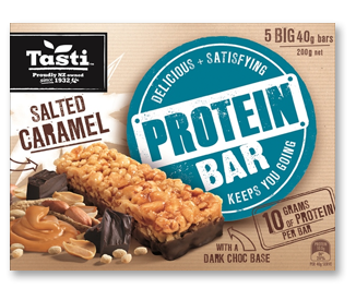 Tasti Protein Bars - Salted Caramel 5 x 40g / 10 x 200g packets / carton