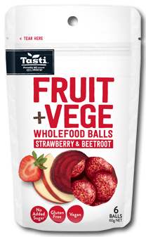 Tasti Fruit & Vege Balls (pouch) - Strawberry and Beetroot  6 Balls per pouch/8 x 60g bag/ctn