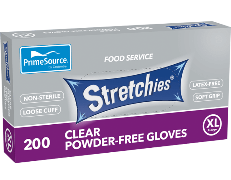 Glove Plastic Clear 'Stretchies' (XL)Powder Free. 200 Gloves