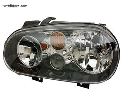 VW Headlight Assembly Left for Golf or Jetta w/ fog & black bezels