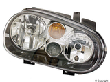 VW Headlight Assembly Right for Golf or Jetta w/ fog & black bezels