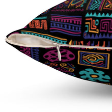 "Load image into Gallery viewer, ""COLORFUL AFRICAN PATTERNS"" Spun Polyester Square Pillow"