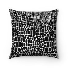 Load image into Gallery viewer, BLACK & WHITE ALLIGATOR PRINT- Faux Suede Pillow