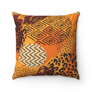 OVAL AFRICAN PRINTS- Faux Suede Square Pillow