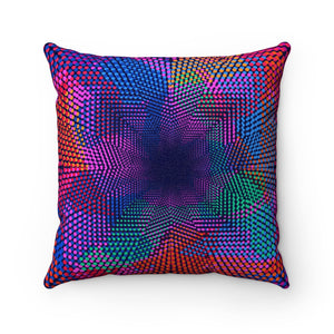 RGB DOTS- Faux Suede Square Pillow