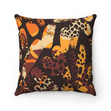 Load image into Gallery viewer, LEOPARDS DEN- Faux Suede Square Pillow