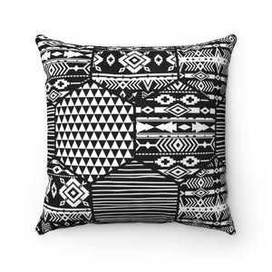 BLACK & WHITE AFRICAN PATTERNS-  Faux Suede Square Pillow