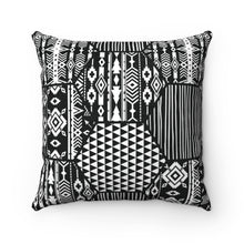 Load image into Gallery viewer, BLACK & WHITE AFRICAN PATTERNS-  Faux Suede Square Pillow